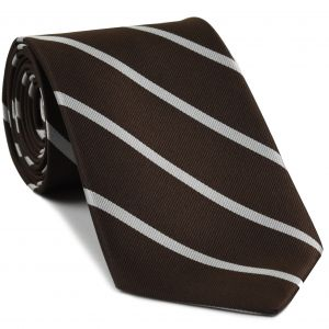 New College Oxford Stripe Silk Tie # 7 - White on Bitter Chocolate