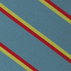 3rd The Kings Own Hussars Stripe Silk Tie # 38 - Corn Yellow & Red on Sky Blue