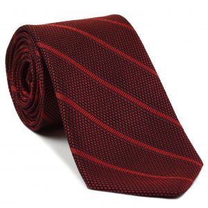 Red Stripe On Midnight Blue With Red Grenadine Fina Stripe Silk Tie #1
