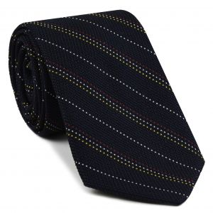 Red, Yellow Gold & White On Midnight Blue Grenadine Fina Stripe Silk Tie #3