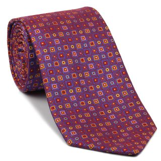 Blue, Yellow, Light Blue & Pink on Red Pattern Silk Tie #EPT-17